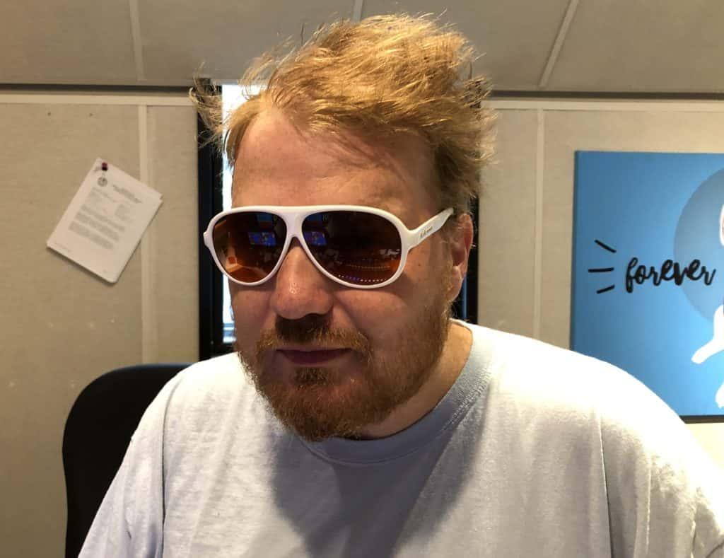jason wearing his new blublocker sunglasses