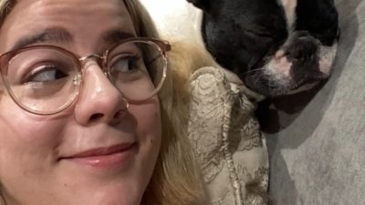 katy taking a selfie with deb's dog alfie