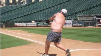 jason hitting a baseball in his boxers at dell diamond