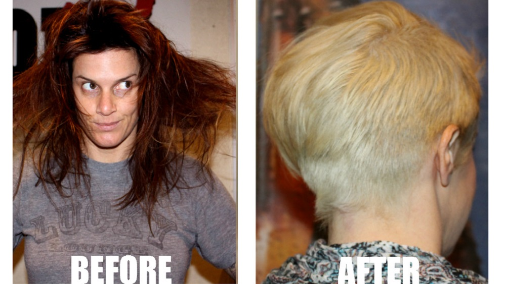 before and after photos of deb going blonde