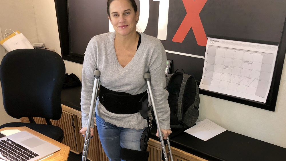 deb on crutches after her hip surgery