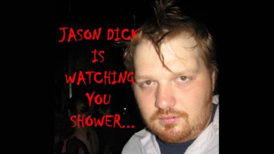 an old picture of jason looking creepy with the caption Jason Dick is watching you shower