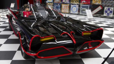 stock photo of the batmobile from the adam west tv series