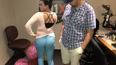jason checking out deb's butt in her new ruched leggings