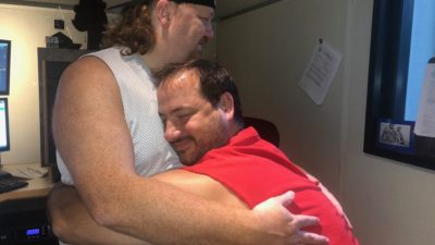 old picture of jason when he was fat hugging producer nick who still is fat
