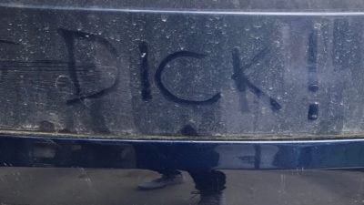 someone wrote the word dick on the bumper of jason's tesla