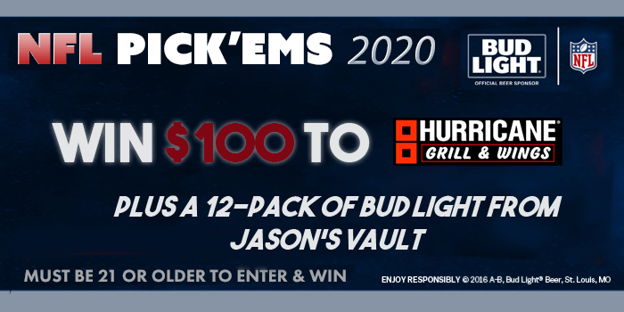 NFL Pickems 2020 win $100 to hurricane grill and wings plusa 12-pack of bud light