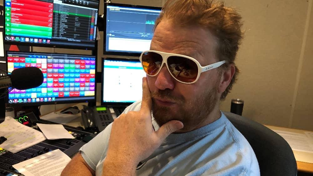 jason wearing blublocker sunglasses in the studio