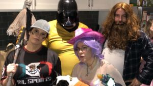 jason dressed as darth vader/captain kirk, deb as a softball player, nick as fat thor, and katy as a space cowgirl for halloween