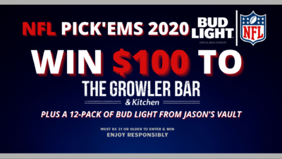 NFL Pickems 2020 win $100 to The Growler Bar plus a 12-pack of bud light