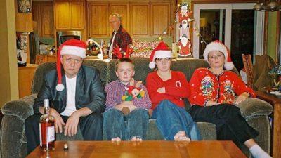 Unhappy family christmas card