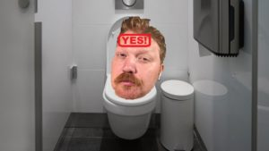 jason's head wearing his airpods photoshopped onto a stock photo of a toilet