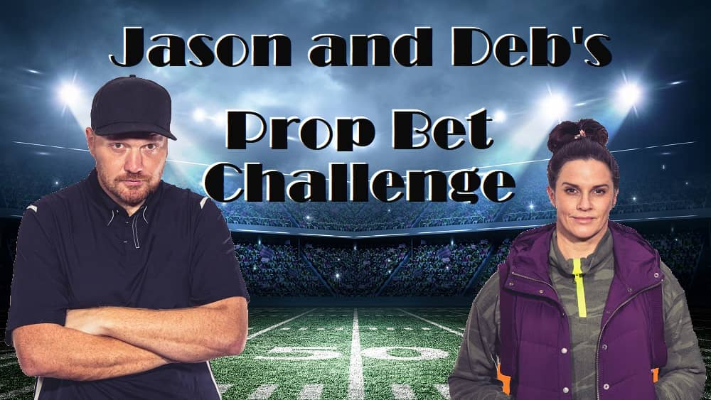 jason and deb photoshopped onto a stock image of a football field with the words jason and deb's prop bet challenge on it