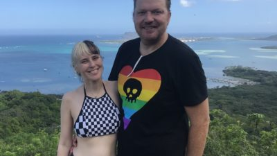 jason and his bumblina on a hike in hawaii