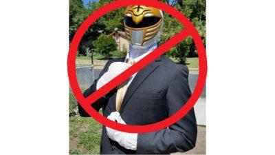 jason's roommate gil wearing a tuxedo and white power ranger mask
