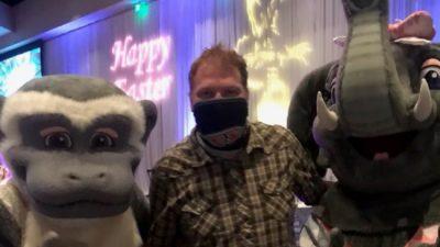Jason at kalahari resorts with their monkey and elephant mascots