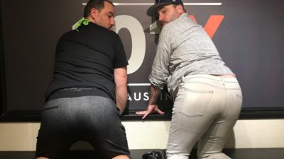 nick and cj morgan showing off their butts in studio