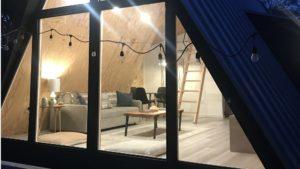 jason's Fredericksburg airbnb a lit up at night