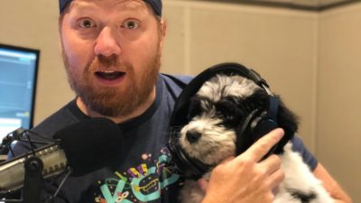 jasons new puppy bogey wearing his headphones in the studio