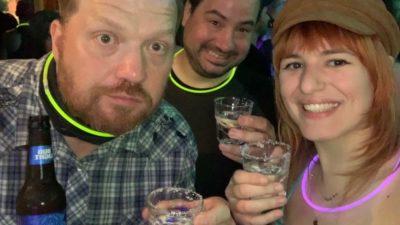 Jason, Nick and Emily doing shots at Rain.