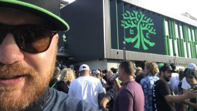 jason standing outside the austin fc stadium