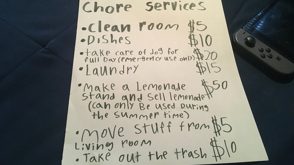 a list of chores and how much Jason's girlfriend's kid wants Jason to pay him for doing