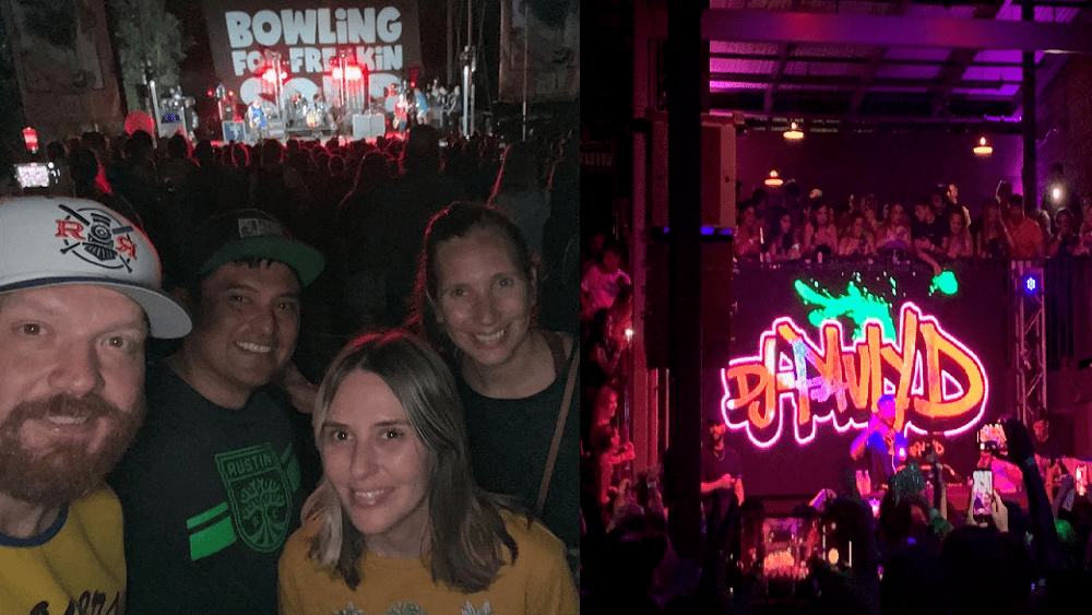 jason at a bowling for soup show and emily at a pauly d show