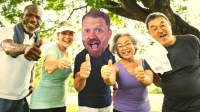 stock photo of old people enjoying life with jason's face photoshopped on it