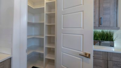 a stock photo of an empty kitchen pantry