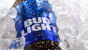 stock photo of a bud light in ice