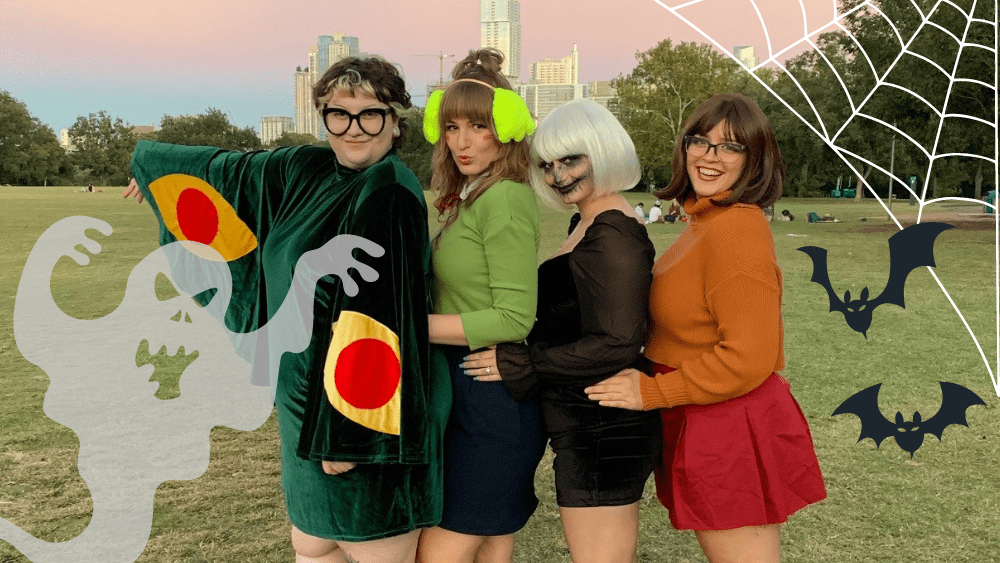 Emily and her friends dressed up in Ziker Park for Halloween
