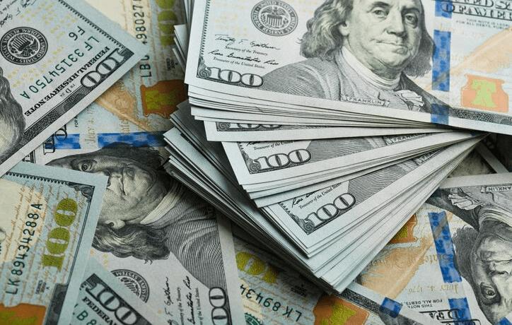 Stacks of American money.