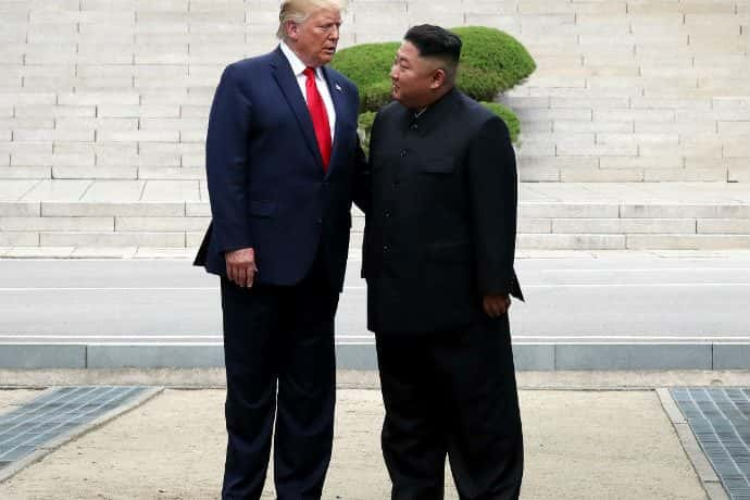 President Trump and Kim Jong Un visit in South Korea