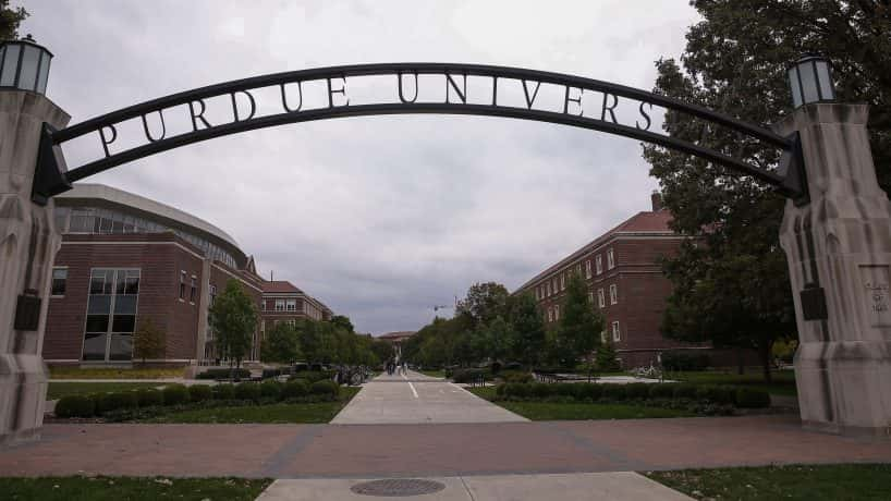 Purdue University sign over entrance to university