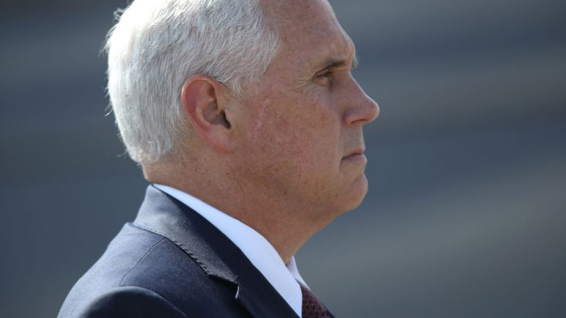 US Vice President Mike Pence, shown in profile.