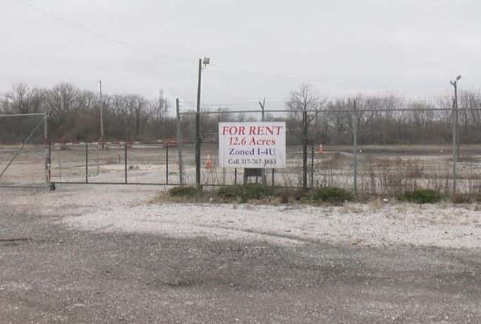 A sign at the site for a proposed salvage yard in Indy's Old Southside neighborhood.
