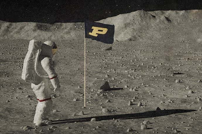 Purdue's flag on the moon