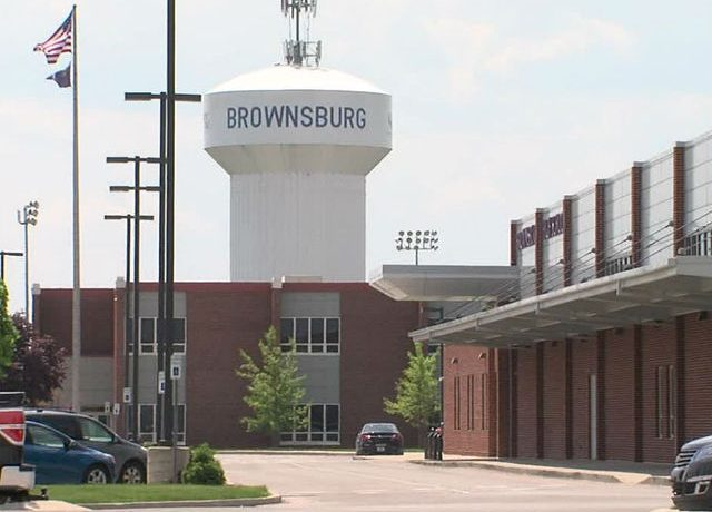 Brownsburg High School with water tower