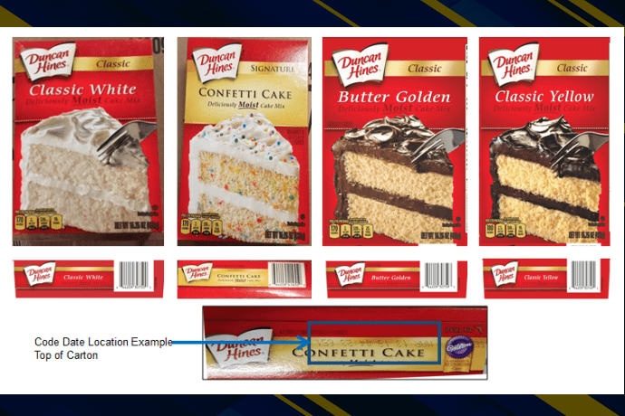 Four boxes of Duncan Hines cake mix and the top of a box. Photo by the CDC.