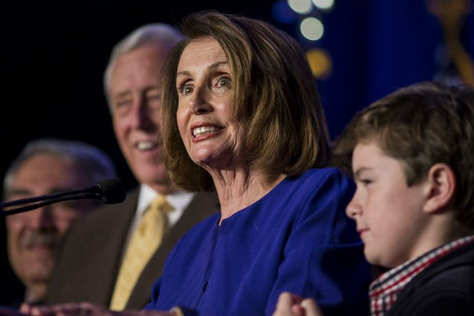 WASHINGTON, DC - NOVEMBER 06: House Minority Leader Nancy Pelosi (D-CA), joined by House Democrats, delivers remarks during a DC