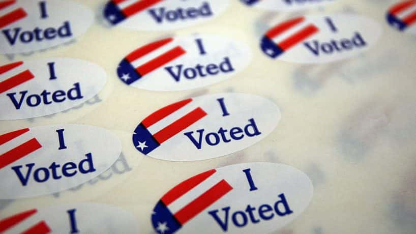 """A sheet of """"I Voted"""" stickers."""