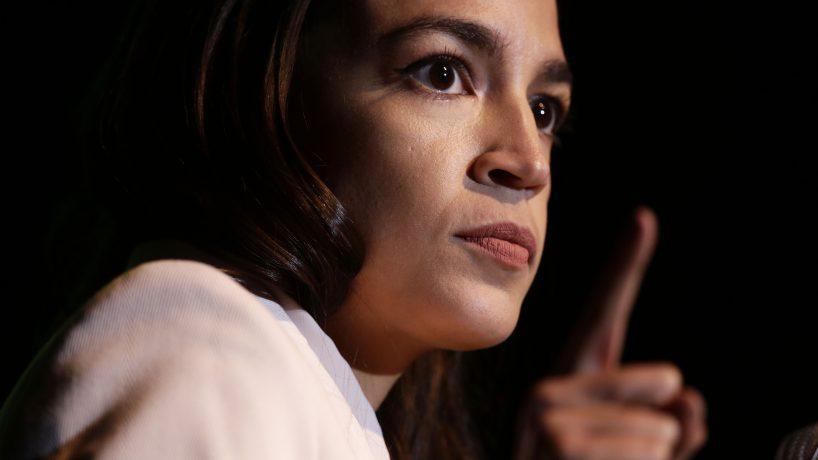 U.S. Rep. Alexandria Ocasio-Cortez speaks during a rally at Howard University May 13, 2019 in Washington, DC. The Sunris