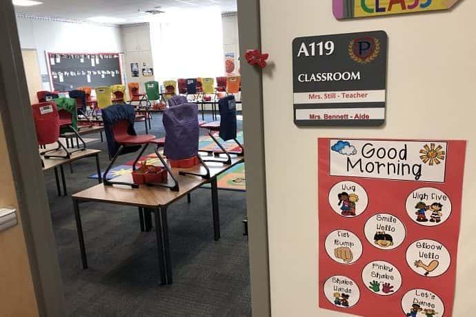 doorway to kindergarten classroom