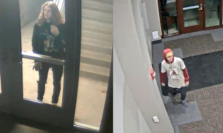 Two security footage screenshots of people looking through glass doors. PC: Carmel Police