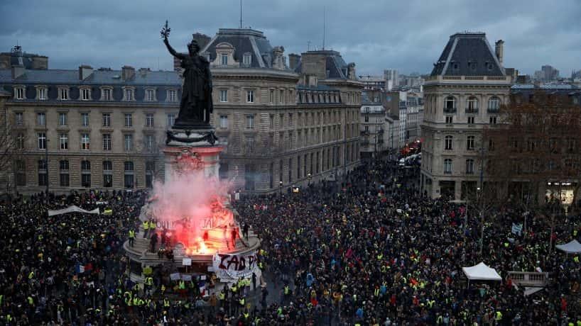 Protesters gather in the Place de la Republique on December 8. REUTERS
