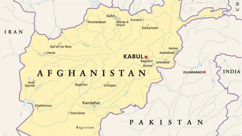 A map of Afghanistan with the capital city, Kabul, highlighted in bold.