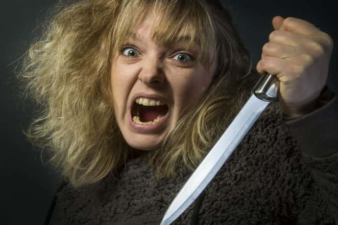 A psychotic young woman with a knife - domestic violence