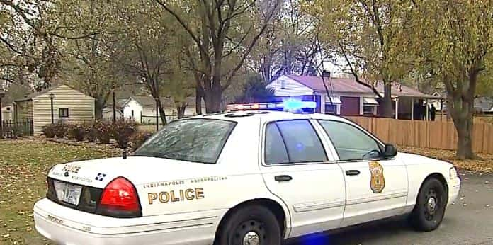 An Indy Metro Police patrol car parked in an east-side neighborhood.