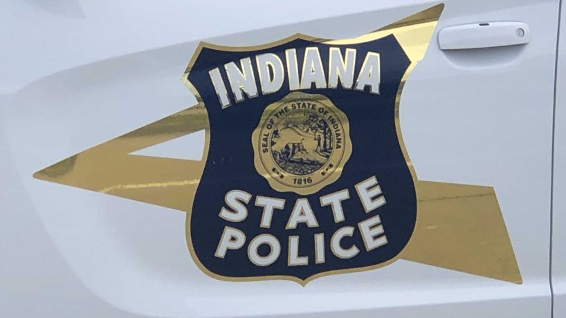 Indiana State Police logo on the side of a trooper's car