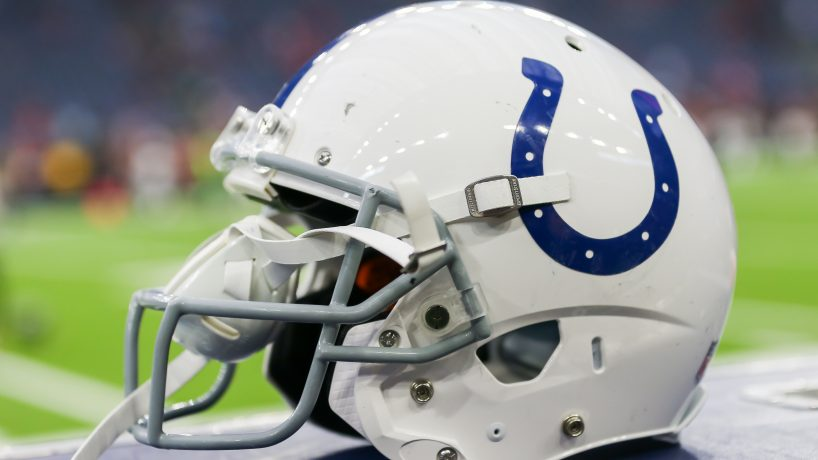 A helmet belonging to a member of the Indianapolis Colts NFL team.